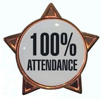 100% ATTENDANCE star badge